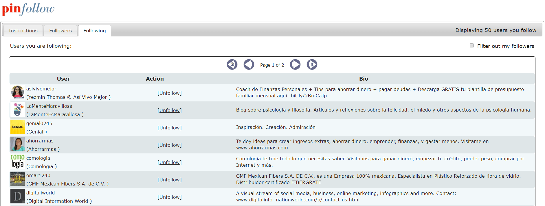Ejemplo de la interfaz de PinFollow