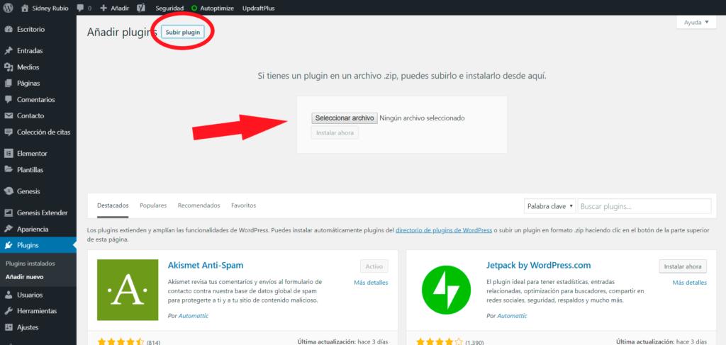 Captura de pantalla de la sección Plugins de la guía sobre cómo crear un blog