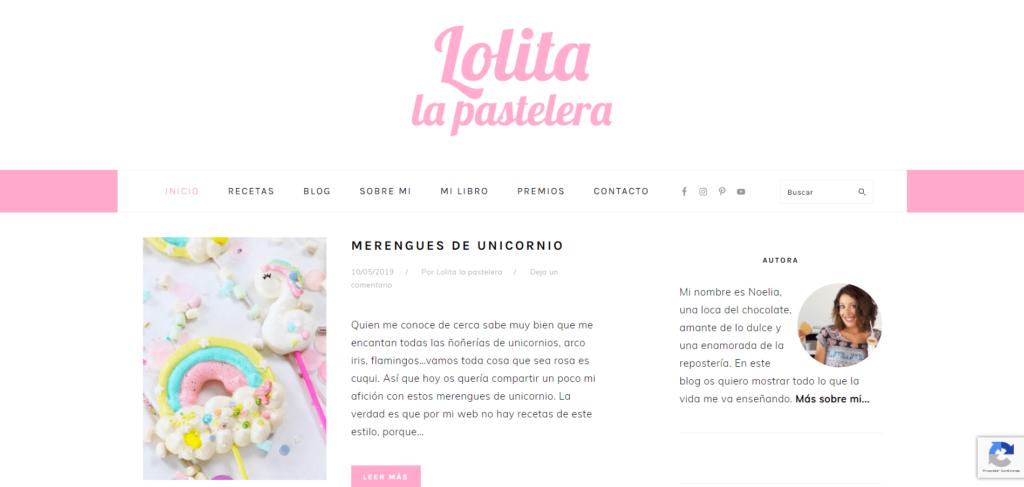 Diseño de blog tipo mezcla, un ejemplo es Lolita la pastelera
